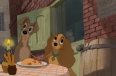 """Lady and the Tramp"" production cel with master pan background setup"