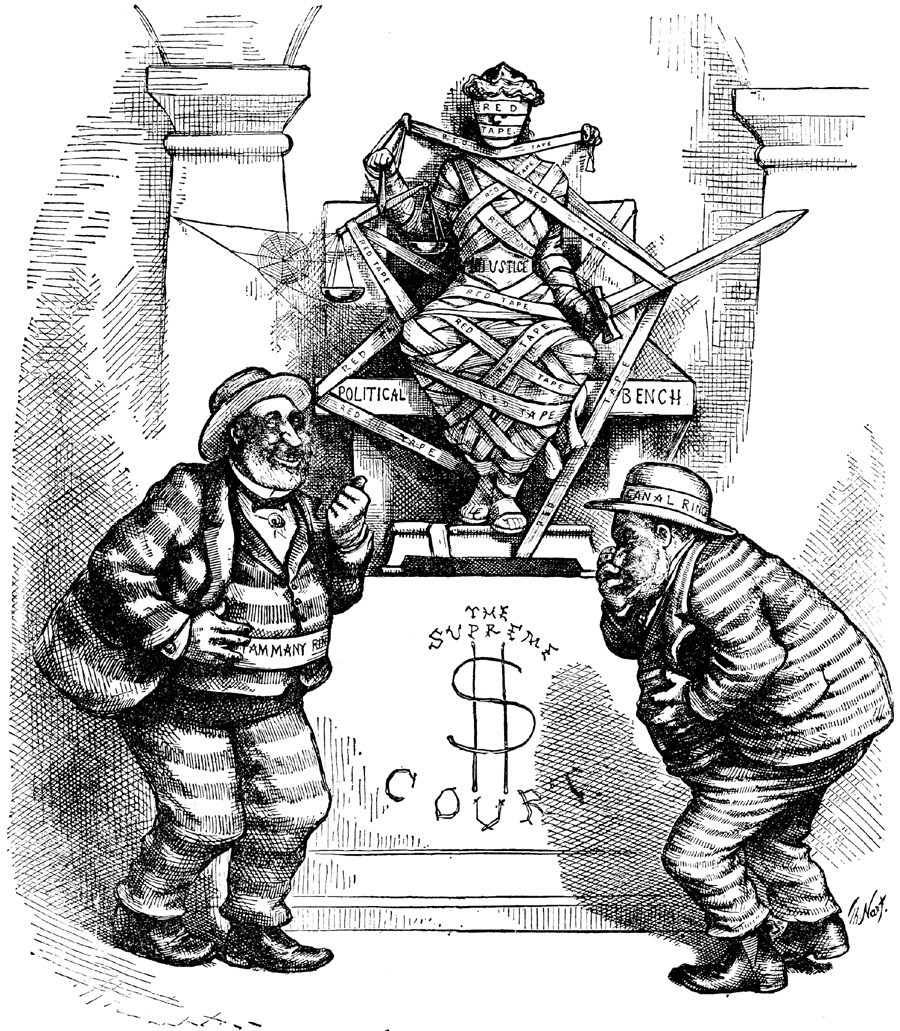 "Editorial cartoon from the cover of ""Harper's Weekly,"" October 16, 1875"