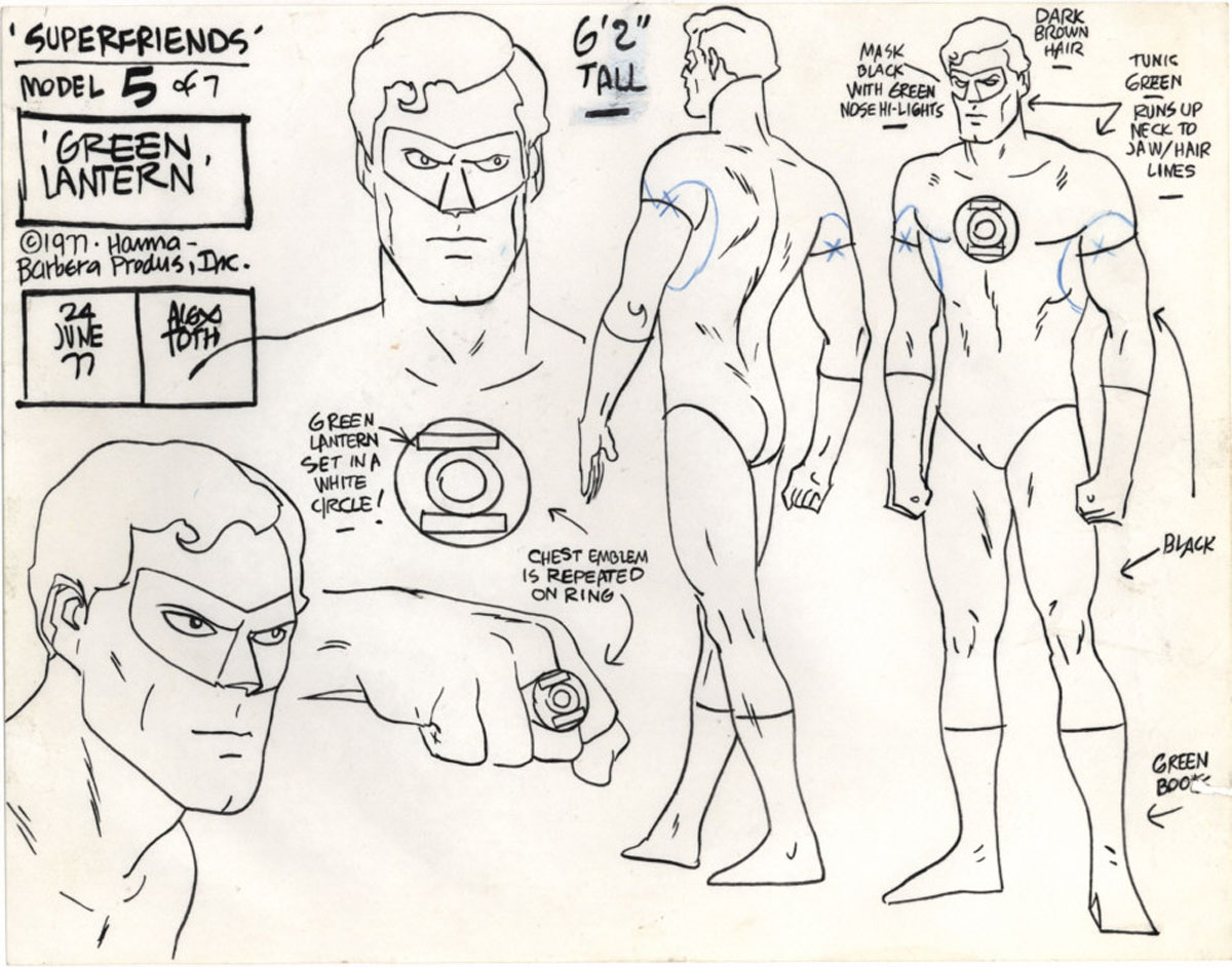"""Model sheet for Green Lantern from the """"Super Friends"""" television cartoon"""