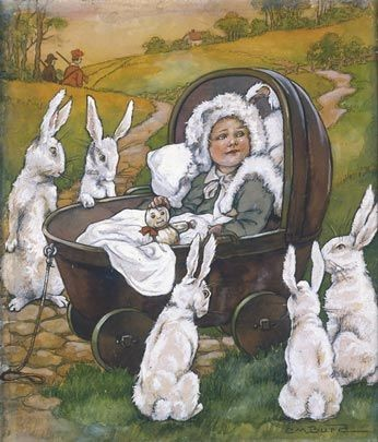 Baby in Carriage Surrounded by Rabbits