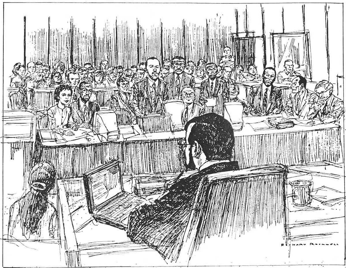 O.J. Simpson trial courtroom drawing