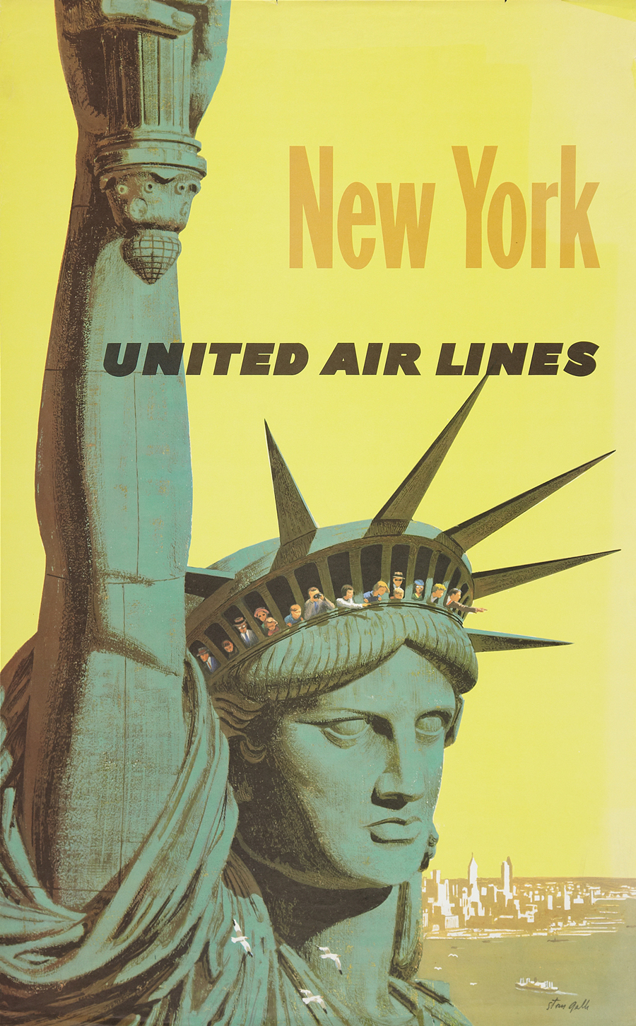 United Airlines New York travel advertising poster