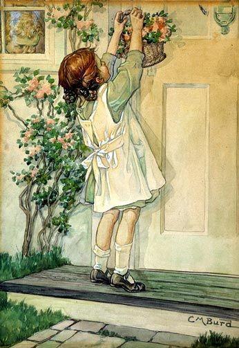 Girl Placing May Basket on Door