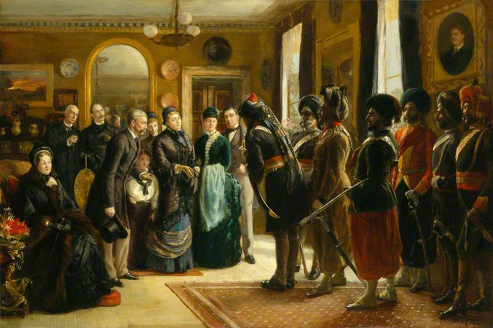 The Duke and Duchess of Teck receiving officers of the Indian Contingent, 1882
