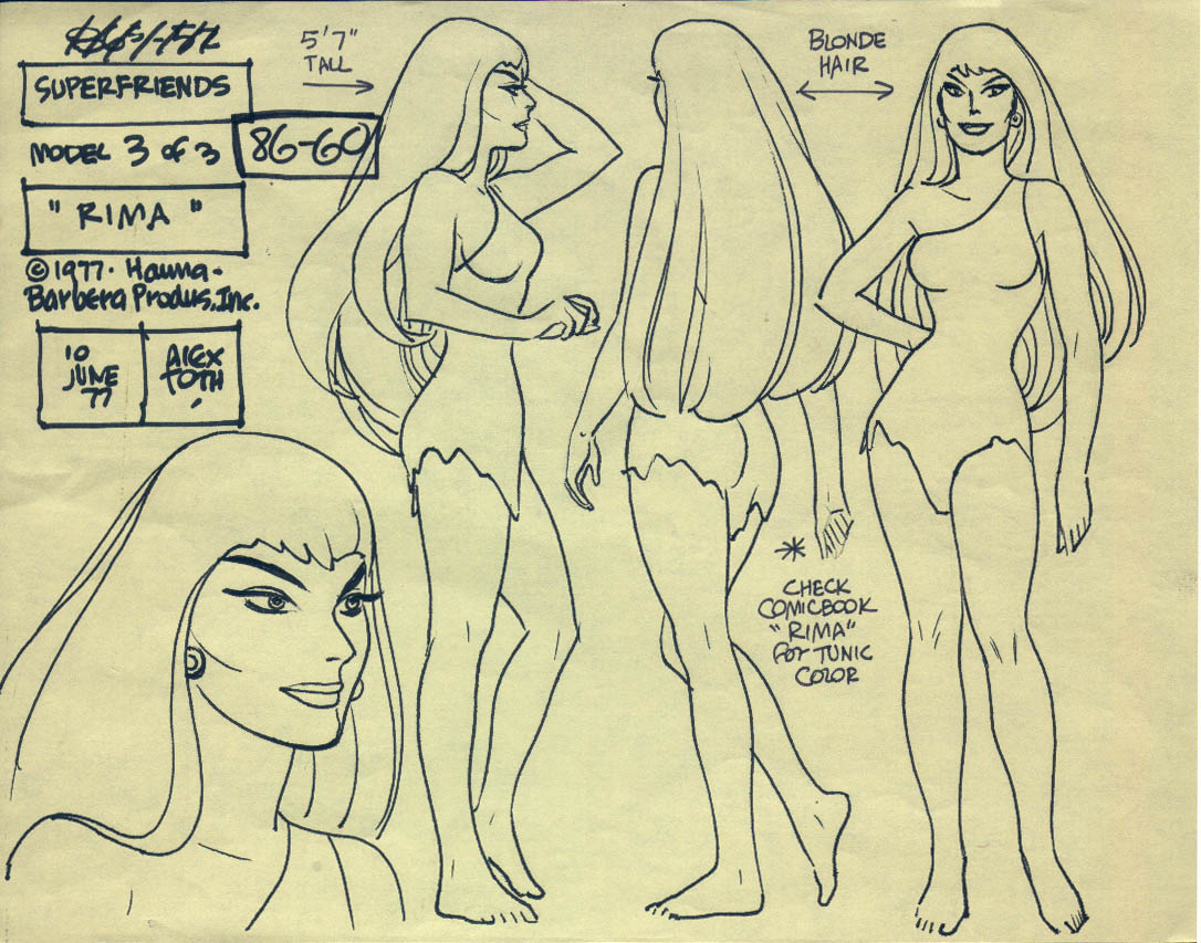 """Model sheet of Rima for the """"Super Friends"""" television cartoon"""