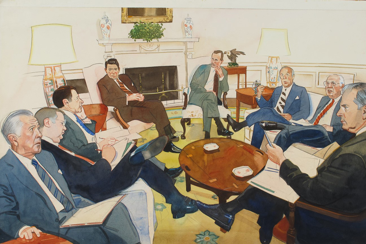 In the midst of the Iran-Contra scandal, the magazine learned that a meeting was to be held at the White House; all key players were to be present