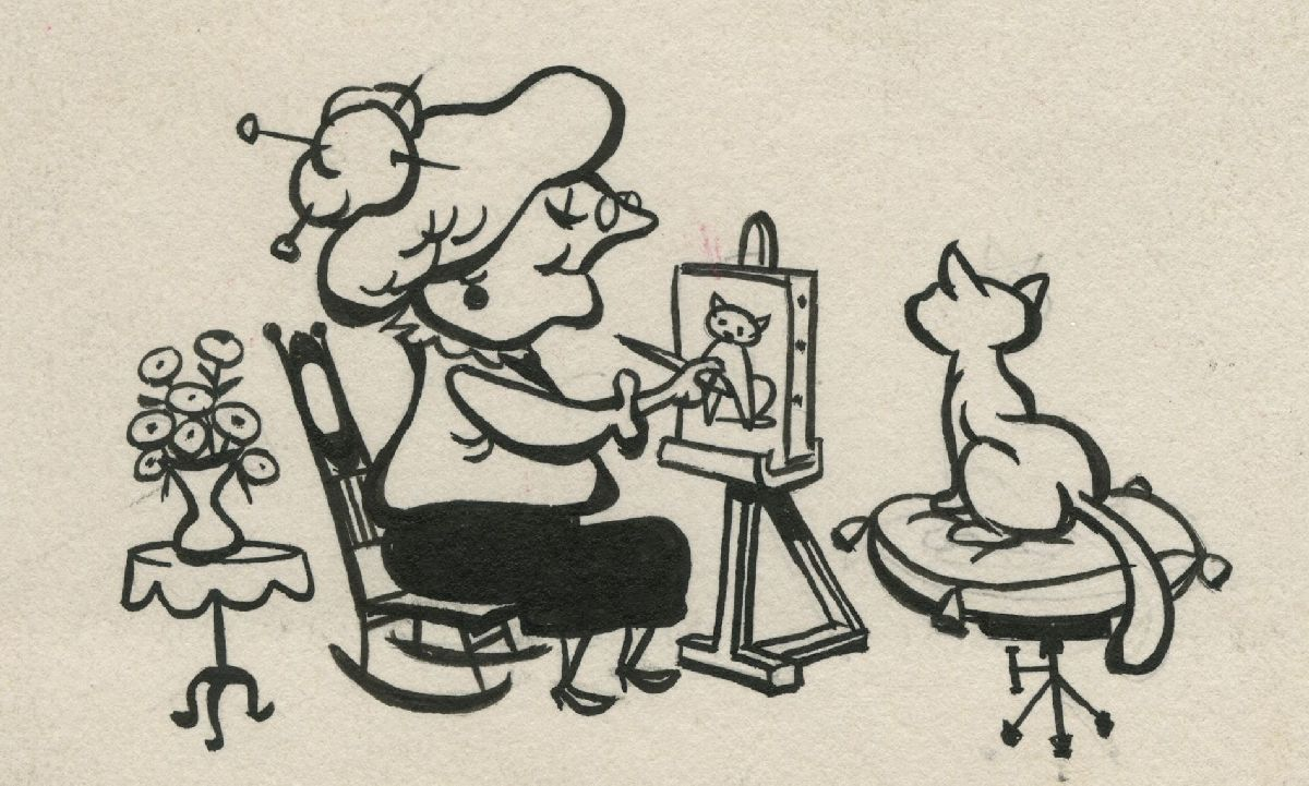 Untitled (Woman Painting a Cat)