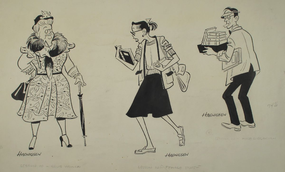 Untitled (Characters: Club Woman; Female Student; Male Librarian)