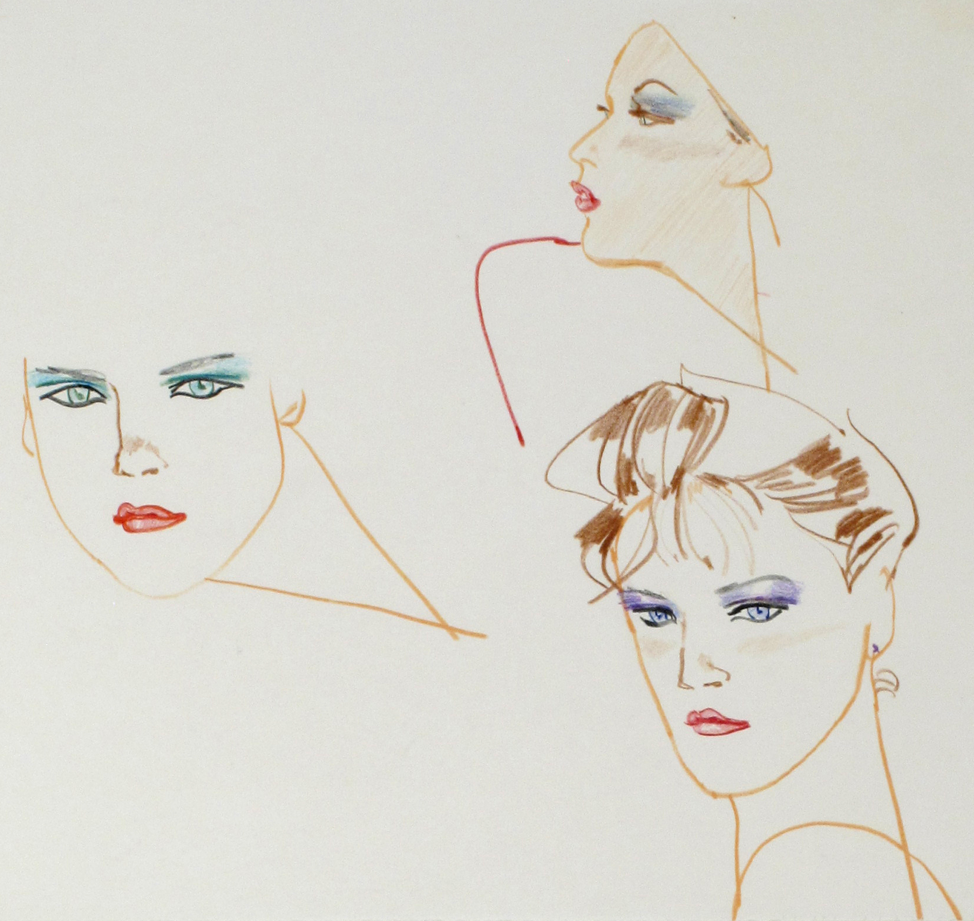 Untitled [Three Face Sketches in Color]