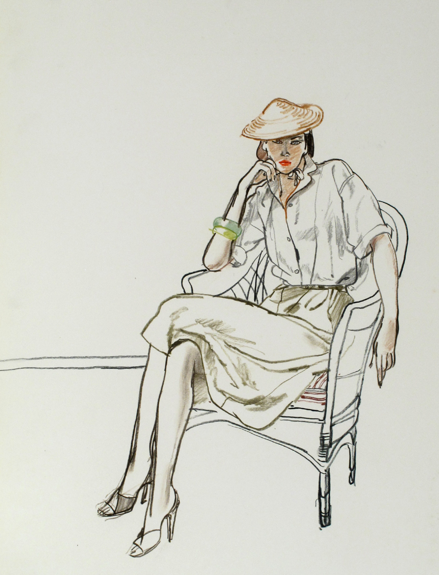 Untitled [Woman in Chair in Green Skirt]
