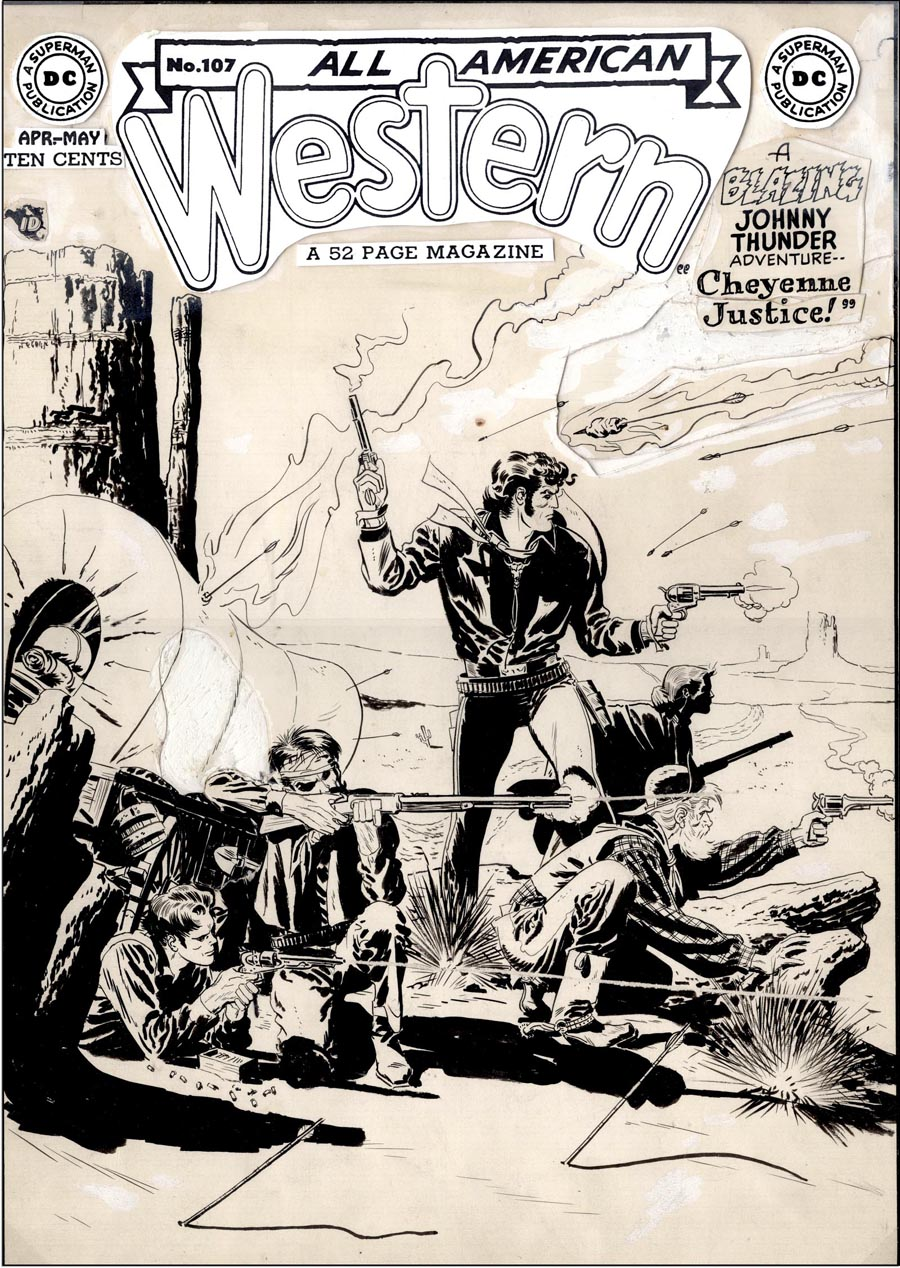 """Cover art for """"All-American Western"""" #107, April-May, 1949"""
