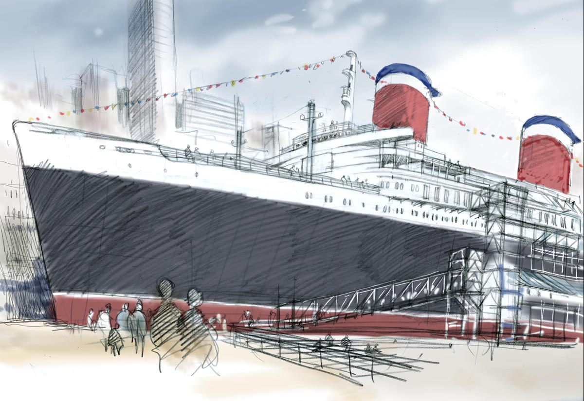 Sketch of the restored S.S. United States
