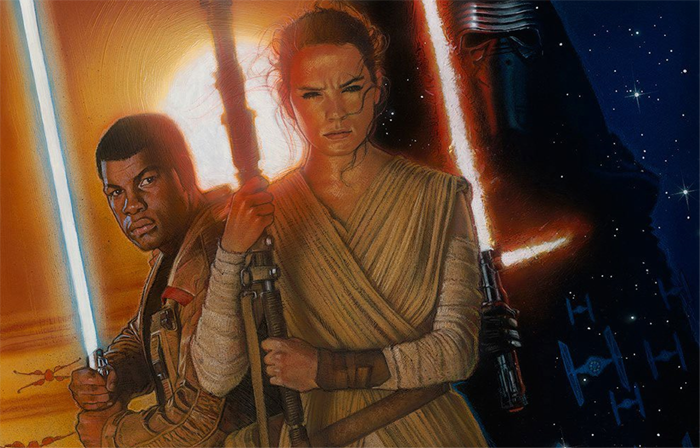 "Drew Struzan debuts a newly painted poster for ""Star Wars: The Force Awakens."""